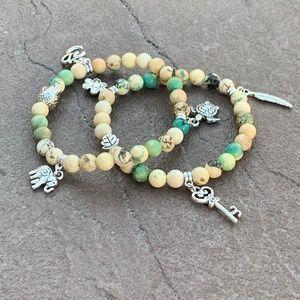 Howlite ohm charms stretch bracelet set